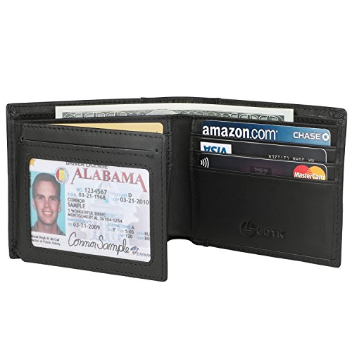 Men's Wallet - RFID Blocking Cowhide Leather Vintage Trifold Wallet (Charcoal Black) (Cowhide Travel Wallet)