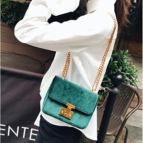 e4dca5b036558 Damen Samt Mini Kleine Quadratische Tasche Kettensack Schloss Schulter  Messenger Bag Mode Klassisch Elegant  Amazon.de  Bekleidung