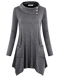 Finice Tunic Shirts For Women Juniors Tops Cute Cowl Neck Pullover Sweater Full Sleeve A Line Asymmetrical Hem Draped Blouse Classic Thin Lightweight Sweatshirts Soft Surroundings Dark Grey L