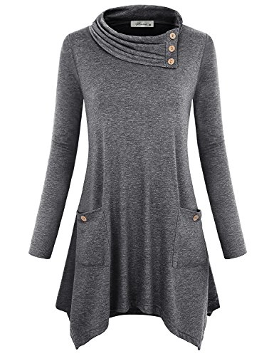 (Finice Tunic Shirts for Women Juniors Tops Cute Cowl Neck Pullover Sweater Full Sleeve A-line Asymmetrical Hem Draped Blouse Classic Thin Lightweight Sweatshirts Soft Surroundings Dark Grey L)