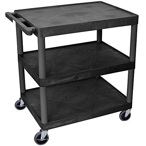 Luxor / H. Wilson HE33-B Black 3 Flat Shelf Structural Foam Plastic Utility Cart - 24'' x 32'' x 33 1/2'' by Luxor/H.Wilson