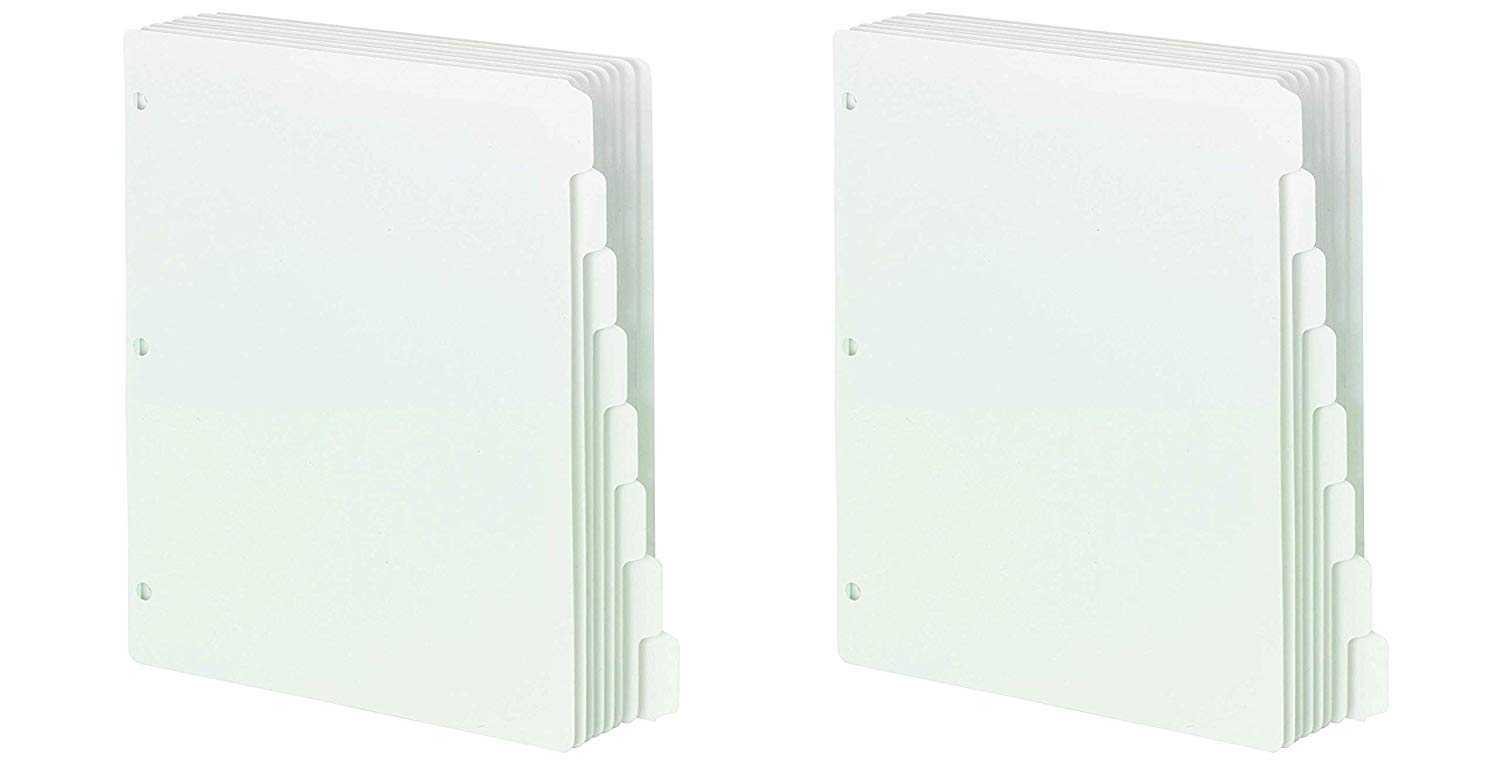 Smead Three-Ring Binder Index Dividers, 1/5-Cut Tabs, Letter Size, White, 100 Dividers (89415) (2 X Pack of 20)