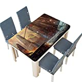 PINAFORE Table in Washable Polyeste Illustration The City After war Realistic Style Scene
