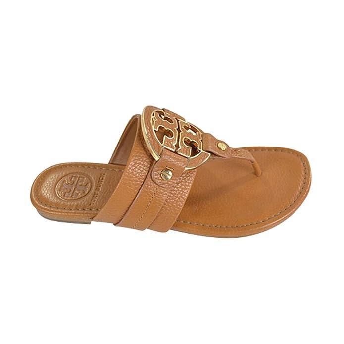 d6db6d42150 Tory Burch Amanda Flat Thong Tumbled Leather Sandal Flip Flop TB Logo Royal  TAN Beige (10)  Amazon.ca  Shoes   Handbags