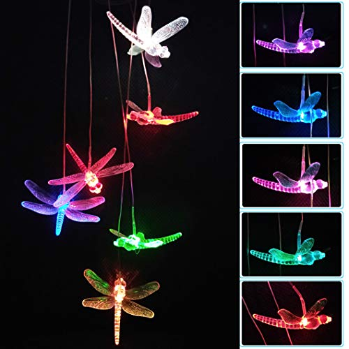 (xxschy LED Solar Dragonfly Wind Chimes Outdoor - Waterproof Solar Powered LED Changing Light Color Six Dragonflies Mobile Romantic Wind-Bell for Home, Party, Festival Decor, Night Garden)