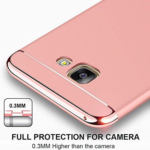 Samsung Galaxy A7 (2017) Hülle, MSVII® 3-in-1 Design PC Hülle Schutzhülle Case Und Displayschutzfolie für Samsung Galaxy A7 (2017) - Rose Gold JY50176