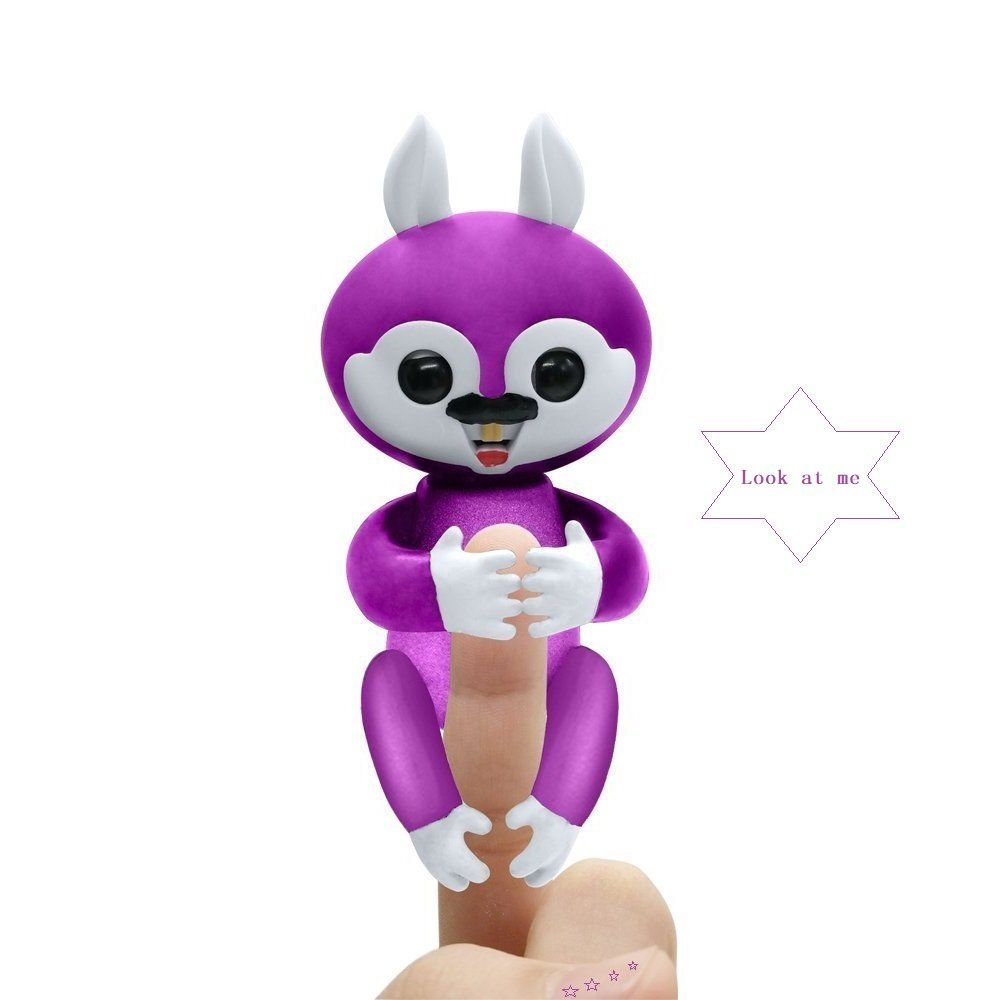 KCHKUI Finger Squirrel Toys, Interactive Baby Children Hand Electronic Finger Squirrels Toys for Ages 3+ (Purple)
