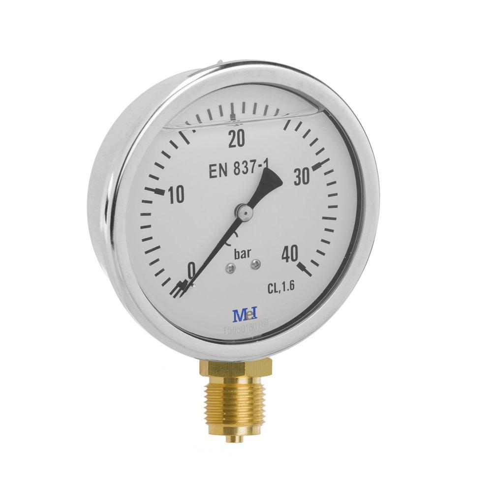 MEI 6055121800//–/mit Glyzerin Manometer senkrecht Messing, 100/mm