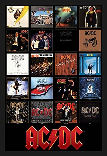 Framed Album Cover (buyartforless IF AQ 241335 36x24 1.25 Black Framed AC/DC Discography Album Covers 1976-2014 36X24 Music Art Print Poster Acdc)