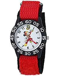 Boy's 'Mickey Mouse' Quartz Plastic and Nylon Casual Watch, Color:Red (Model: WDS000214)