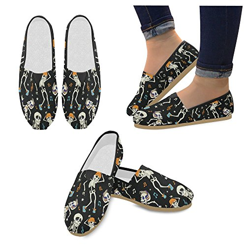 D-etasjers Mote Joggesko Leiligheter Dansende Skjeletter Kvinners Klassiske Slip-on Canvas Sko Loafers Multi1