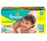 Pampers Swaddlers Diapers Size 5 Economy, Pack 124 Count, Our unique Absorb Away - New!!!