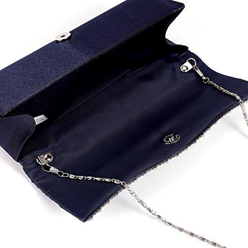 Bolso de Mano Cartera Clutch Satén Plisado con Dos Líneas de Diamantes con Cadena plateado Desmontable para Cena Reunión Formal Boda Salida Nocturna Baile Azul Oscuro