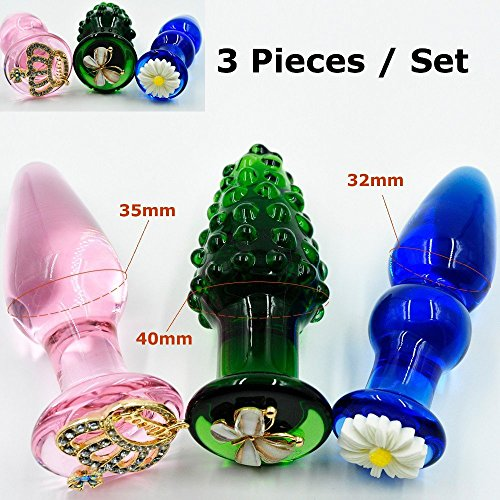 Clearance Sale 3 Colorful Adornment Pyrex Glass Anal Butt Plug Bead Sex Toy Set Adult Male Female Masturbation Product for Women Men Girlfriend by Crazy Sexy Cool
