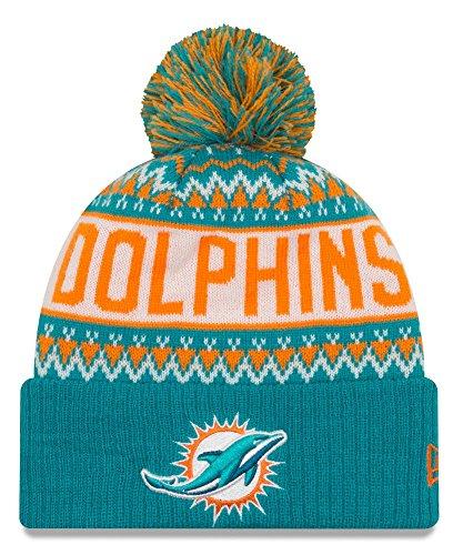 レコーダー後者ポーチNew Era Miami Dolphinsメンズ冬ニットポンポン付きビーニーグリーン/オレンジ/ホワイト80402571