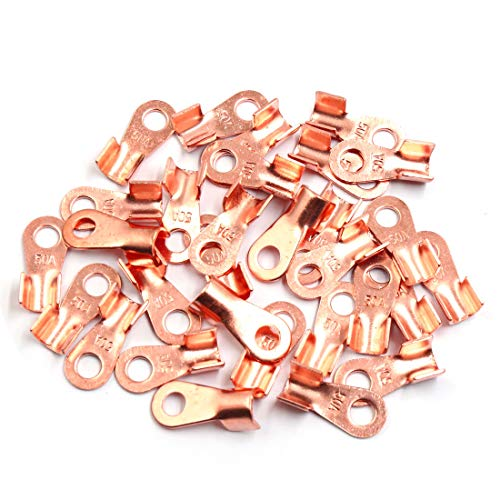 Sourcingmap 30pcs 50A Copper Ring Terminals Lug Battery Cable Connector: