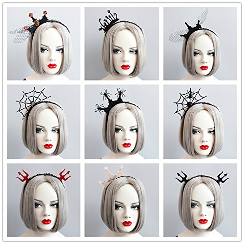 Quantity 1x Halloween_ Headdress _s_devil_fork_ Crown Tiara Party Wedding Headband Women Bridal Princess Birthday Girl Gift Headband _spider_net_ yarn _Christmas_makeup_dance_Ghost_Festival_ ()