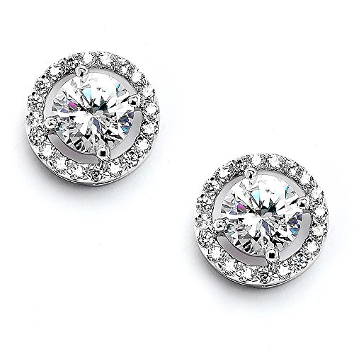 Mariell Cubic Zirconia 13mm Stud Earrings Round-Cut Micro Pave Halos - Genuine Silver Platinum Plated