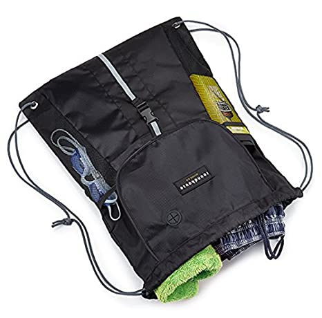 e11e7b6972820 ... Pocket Waterproof Unisex Gym sack Drawstring Bag Swimming Bag School PE  Sackpack Backpack Gym Bag Small Sports Rucksack w  High reflective buckle  strap