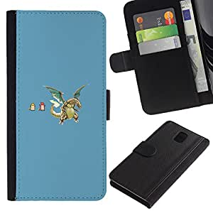 NEECELL GIFT forCITY // Billetera de cuero Caso Cubierta de protección Carcasa / Leather Wallet Case for Samsung Galaxy Note 3 III // Divertidos dragones
