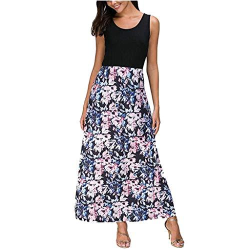 Long Tank Top Dress for Women,SMALLE Womens Summer Beach Boho Floral Dress Sleeveless Long Maxi Dresses Blue