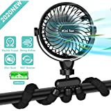 Portable Handheld Fan, 2600mAh Battery Powered Clip-on Personal Desk Baby Fan Air Circulator Fan with Flexible Tripod, Ultra Quiet 4 Speed 360° Rotatable USB Fan for Stroller/Bike/Camping/BBQ/Gym, Black