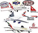 Daron Emirates A380, Qantas A380 & British Airways A380 Die-cast Planes ''Matty's Toy Stop'' Exclusive Gift Set Bundle - 3 Pack