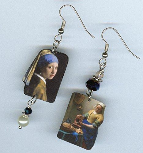 Girl with a Pearl earring - asymmetrical fine art earrings - Johannes Vermeer painting - museum gift jewelry