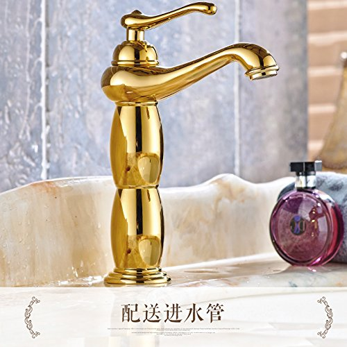 4 LHbox Basin Mixer Tap All copper european style golden basin pink gold bluee enamel hot and cold redary antique table basin chrome faucet, God is chrome plated with high