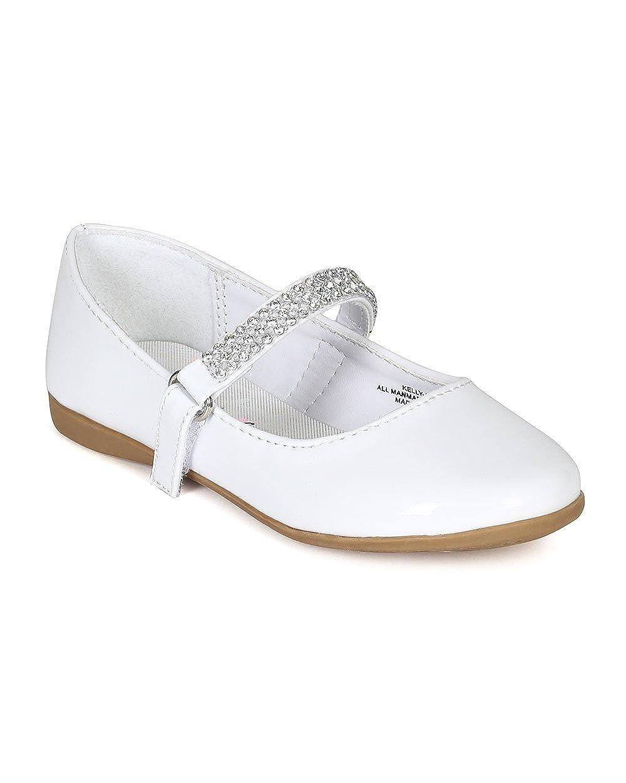 CA04 Patent Leatherette Round Toe Rhinestone Mary Jane Ballerina Flat Toddler//Little Girl White