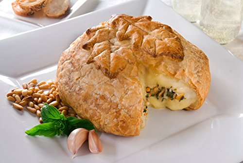 Elegant Brie Creamy Baked Brie en Croûte Gourmet Puff Pastry Easy Frozen Bake at Home Cheese Appetizer (Classic Leaf Design/Garlic Basil Pine Nut, 27oz)