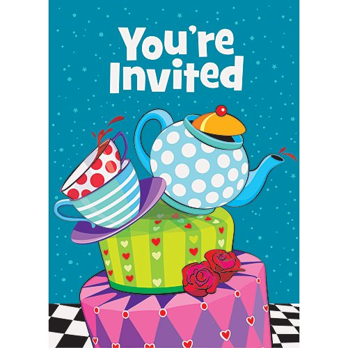 Mad Hatter Tea Party Invitations, 8ct ()