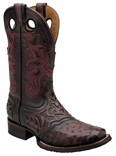 Cuadra's Ostrich Rodeo Western Boots 2I03A1 (10.5 W , Black Cherry) (Beautiful Full Ostrich)