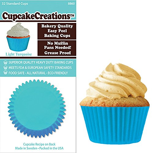 Light Turquoise Cupcake Baking Cup Liners 32 Count