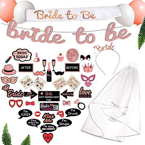 Scapa Pro Rose Gold Bachelorette Party Decorations Kit | 63-Pc Pink Bridal Shower Supplies 1-of-a-Kind Design Includes: Bride-to-Be Sash, Tiara, Veil, Photo Props; Glitter Banner; Tattoos, Balloons -