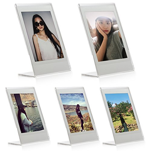"Woodmin 3-inch Acrylic ""L"" Vertical Clear Photo Frame for Fujifilm Instax Mini 9 8 8+ 70 7s 25 50s 90, Polaroid Z2300, Polaroid PIC-300P Films (5 Pieces)"