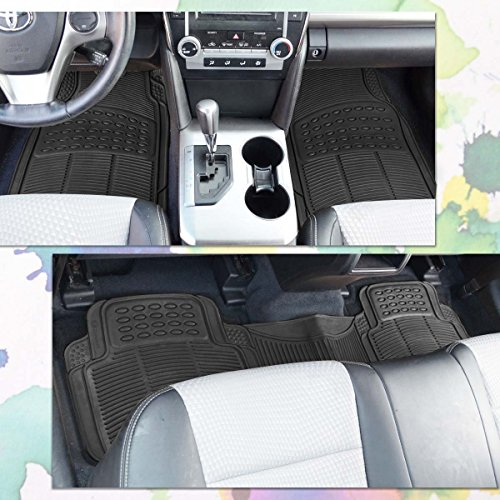 zone tech all weather rubber semi pattern car interior floor mats 3 piece set black heavy duty. Black Bedroom Furniture Sets. Home Design Ideas