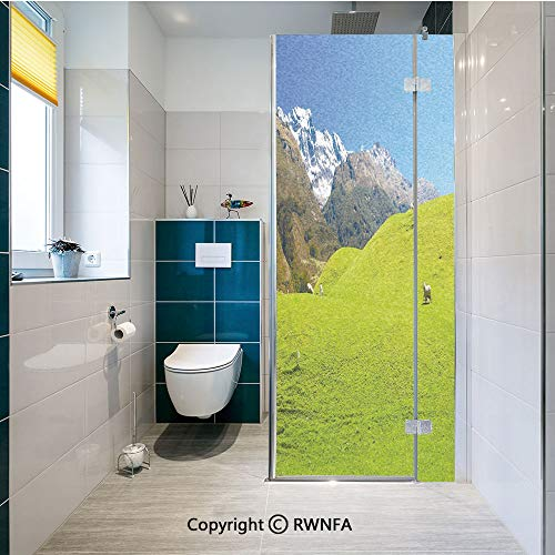 RWNFA Removable Static Decorative Privacy Window Films Idyllic Hills Mountain Land Farm New Zealand Snowy Peaks Spring Landscape for Glass (23.6In. by 70.8In),Lime Green Brown Blue