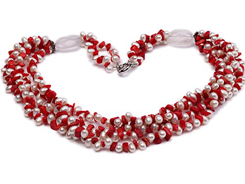 (JYX Pearl Necklace Four-Strand 6-7mm White Freshwater Pearl and Red Coral Chips Necklace for Women 22