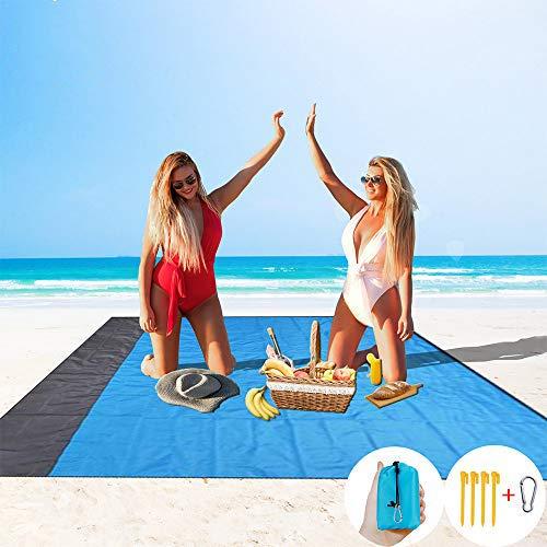 HISAYSY Stranddeken zandbestendige picknickdeken, extra groot, 210 x 200 cm, waterdichte en lichtgewicht strandmat met 4…