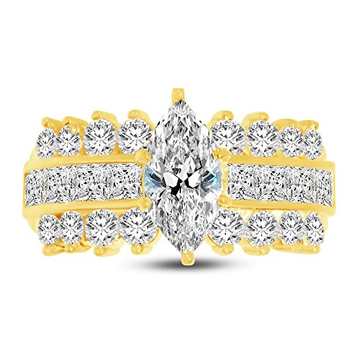 Size - 9.5 - Jewel Tie 14K Yellow Gold Marquise Cut Wide Three Row Solitaire Engagement Ring Cubic Zirconia CZ (2.50cttw, 1.50ct. Center) ()
