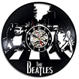 The Beatles Music Band Theme Vinyl Record Creative Wall Clock-Hanging Time Watch Kitchen-Art Home Decor Interior Design Children Room Nursery Decoration-Best Gift for Kids Musician Singer Office