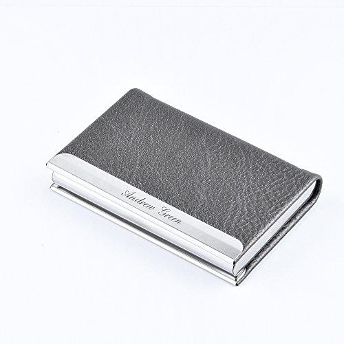 Custom Business Card Holder for Free Engraving (Grey) -