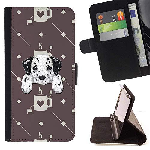 ([ Dalmatian Retriever ] Embroidered Cute Dog Puppy Leather Wallet Case for HTC U11 [ Coffee Love Tea Mug Pattern ] )