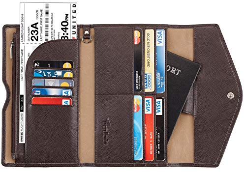 (Travelambo Rfid Blocking Passport Holder Wallet & Travel Wallet Envelope Various Colors(coffee))