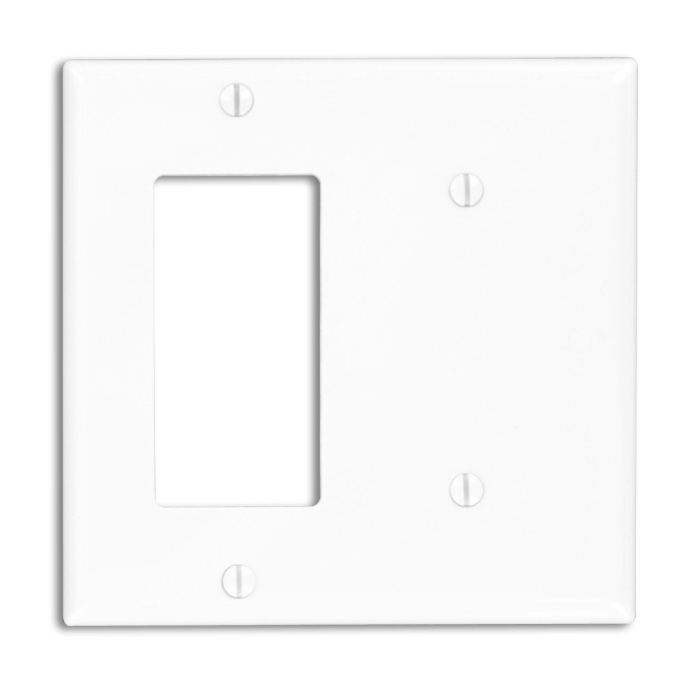 Leviton 80708-W 2-Gang 1-Blank 1-Decora/GFCI Device Combination Wallplate, Standard Size, White