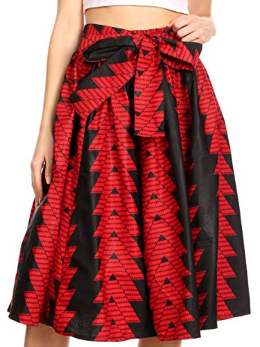 Gypsy Skirt Printed - Sakkas 19421 - AMA Women's Vintage Circle African Ankara Print Midi Skirt with Pockets - 114-RedBlack - OS