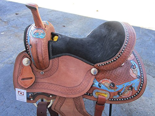 15 16 PRO BARREL RACING SHOW RACER COWGIRL TURQUOISE BLUE FLORAL TOOLED LEATHER WESTERN HORSE SADDLE (15) (Billy Cook Barrel Racer)