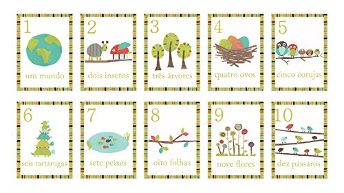 Children Inspire Design Nature Themed Portuguese Numbers 1-10 and Counting Wall Cards, 5