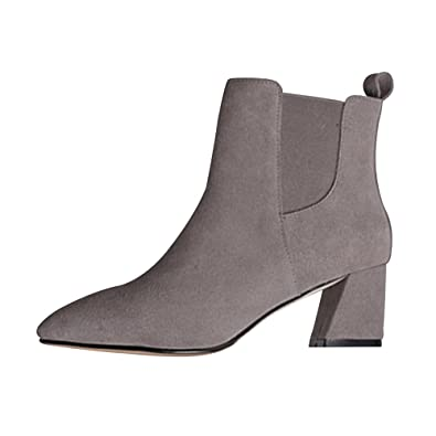 Damen Stiefel Freizeitschuhe Kurzschaft Blockabsatz High Heels Ohne  Verschluss Herbst Elegant Schick: Amazon.de: Schuhe & Handtaschen